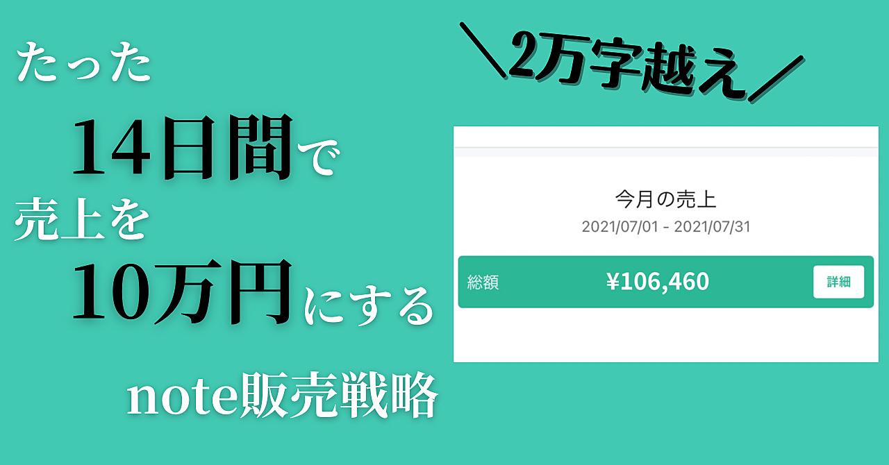 note経験ゼロでも2週間で売上が10万円越えした売れ続けるnote販売戦略をお教えします。