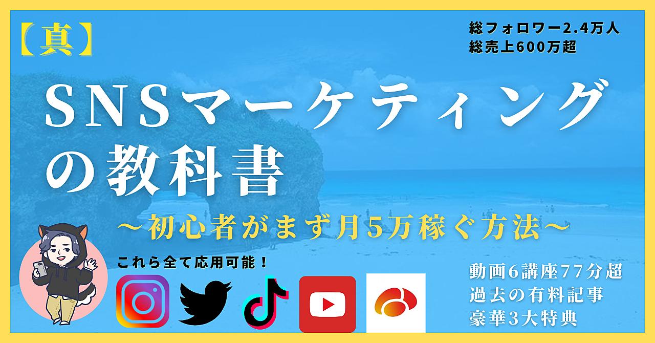 【真】SNSマーケティングの教科書〜初心者がまず月5万稼ぐ方法〜