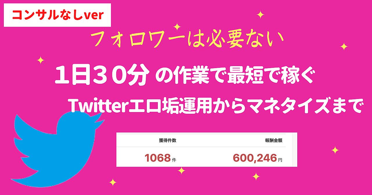 【コンサルなしver】毎日たったの30分の作業で最速でTwitterアフィリエイト【エ口垢必見です】