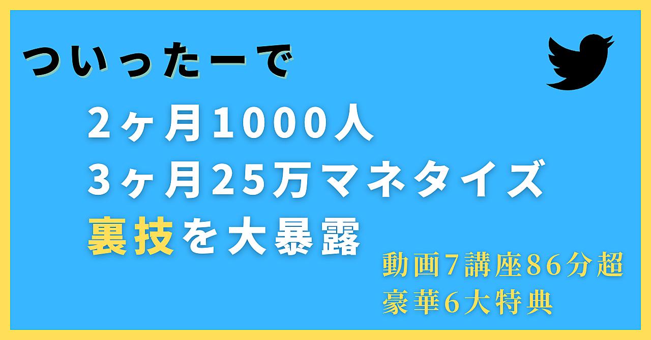 Twitter2ヶ月1000人3ヶ月25万マネタイズ方法
